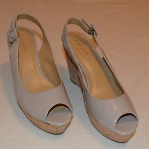 Nine West Cork Wedge Sandals Nude Patent Leather
